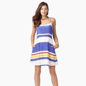 Juicy Couture Women's Blue Fiji Striped Silk Dress